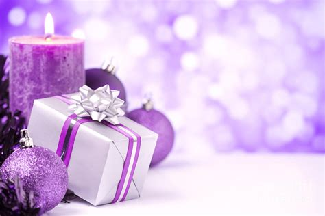 purple christmas scene with christmas decorations
