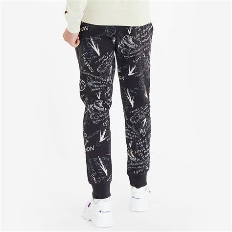 champion elastic cuff pant blackallover mens clothing