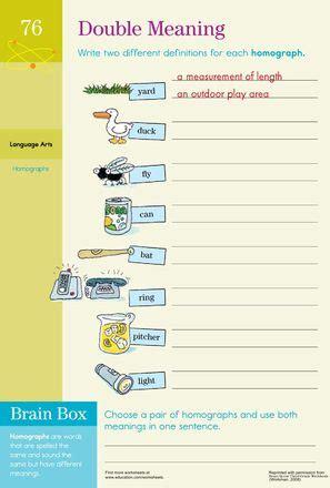 Homograph Worksheets by Meaning Practicing Homographs Cognates