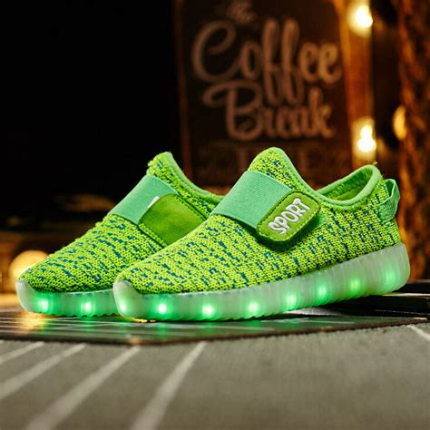 Led Shoes Flah M led light up yeezys flash shoes green turquoise sale
