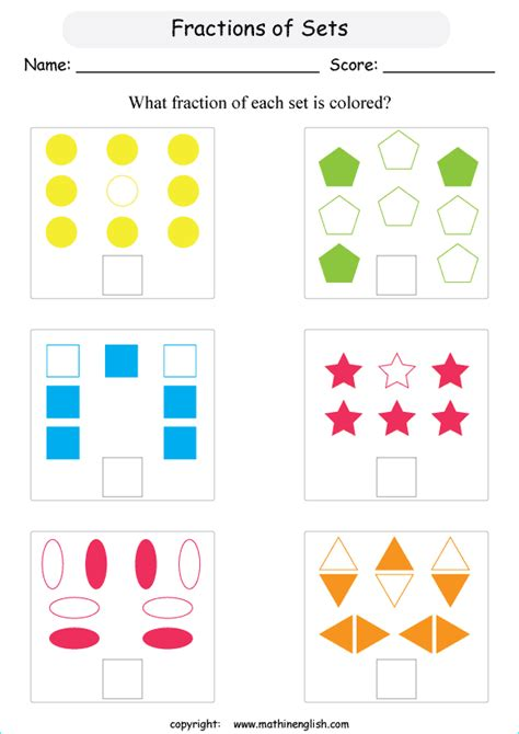 fraction of a set grade what is the colored fraction in each set of objects and