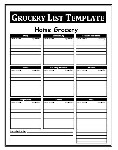 free grocery list template search results for printable blank shopping list for