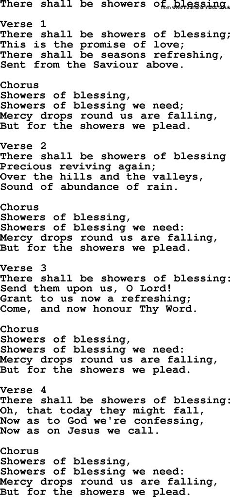 there shall be showers of blessing apostolic and