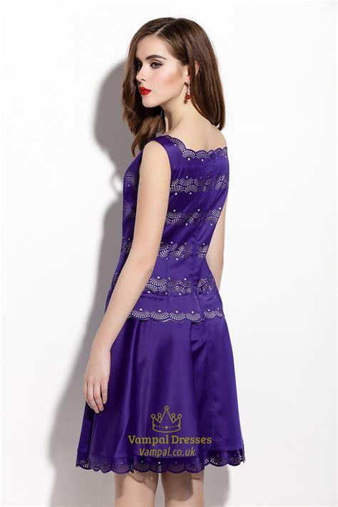 Embellished A Line Dress purple sleeveless square neckline embellished a line dress
