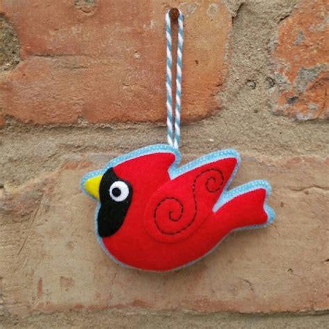Handmade Bird Ornaments - handmade felt cardinal bird ornament