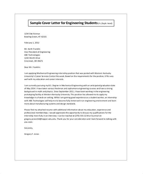 Cover Letter Format Internship by Sle Cover Letter For Internship 9 Exles In Pdf Word