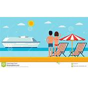 Vacation And Travel Cartoon Young Couple By The Sea