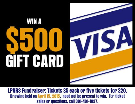 Fundraiser Gift Cards - gift card fundraiser drawing on april 15 2015 lexington park volunteer rescue squad