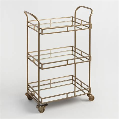 bar carts gold cole 3 tier rolling bar cart world market