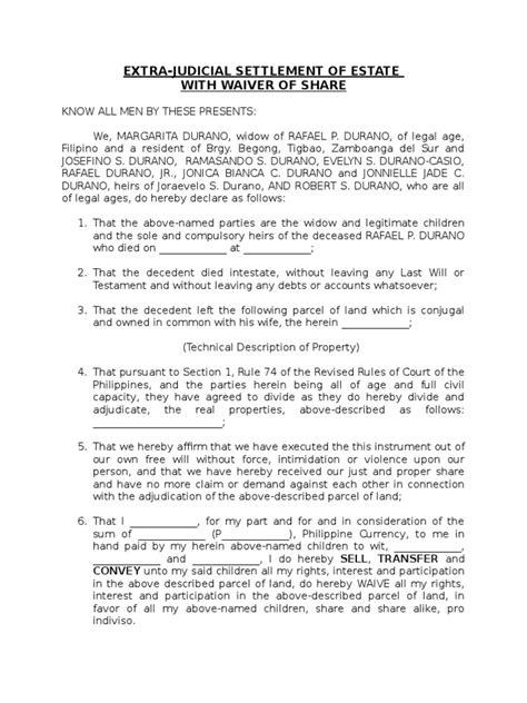 extrajudicial settlement sample - DocShare.tips