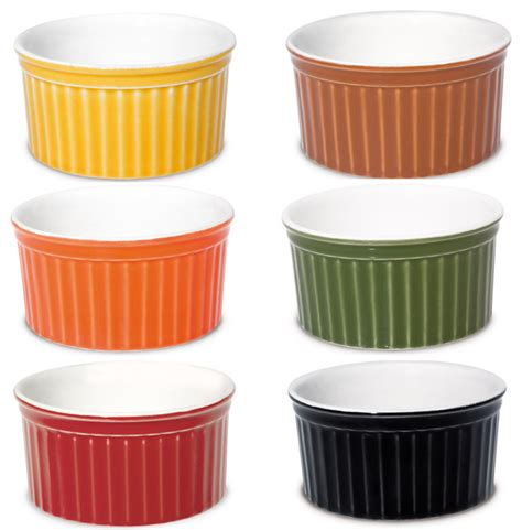 Contemporary Living Room by Oxford Porcelain Ramekin Assorted Colors Set Of 6