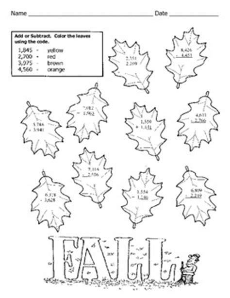 Free Fall Math Worksheets by Thanksgiving Addition And Subtraction Worksheets Free