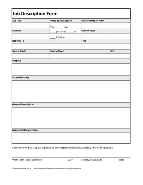 Formal Description Template Template Formal Job Description Template Operations Manager Ideal Gallery Sle Exle