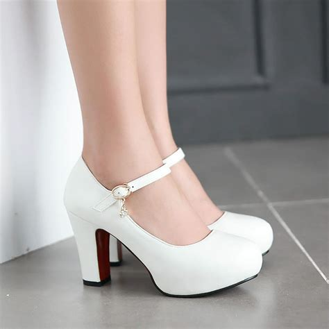 White Wedding Heels by Aliexpress Buy White High Heels Thick