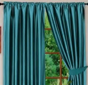 Teal Blue Curtains Teal Blue Colour Stylish Faux Silk Fully Lined Pair Of Curtains