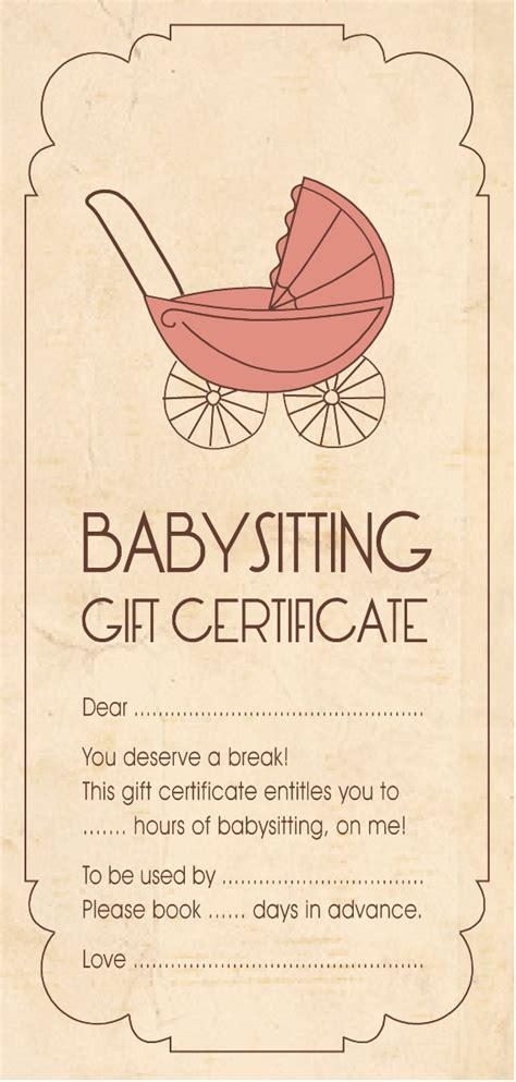 babysitting gift voucher template gift certificate for babysitting gift ideas