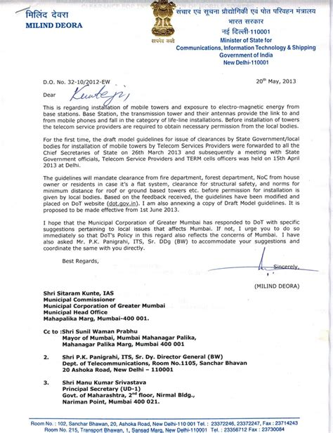 Formal Letter Sle To Municipal Corporation Letter To Mr Sitaram Kunte Ias Milind Deora