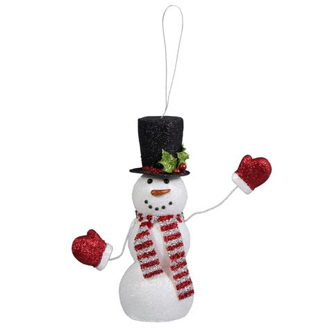 Snowman Decoration White 11 quot glitter waving snowman decoration white black