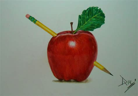 colored apple drawing an apple drawing with prismacolor colored