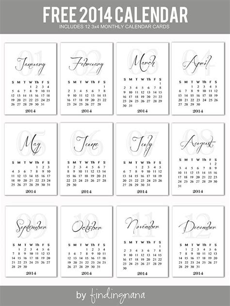 project life printable planner 2014 monthly calendar cards projectlife project life