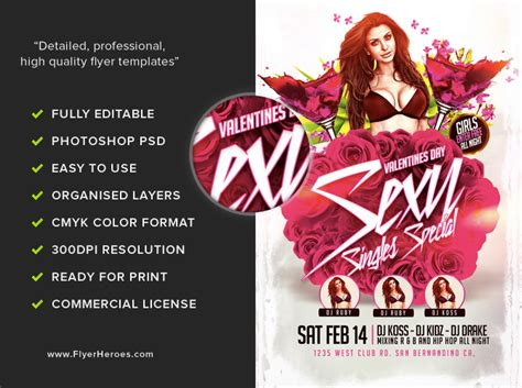 Valentine S Day Sexy Singles Special Flyer Flyerheroes Specials Flyer Template