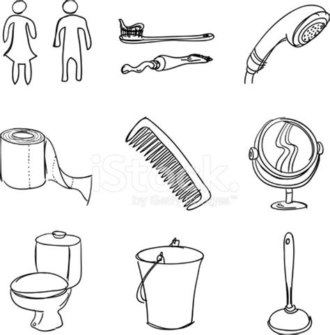 style bathroom accessories bathroom accessories in sketch style stock vector