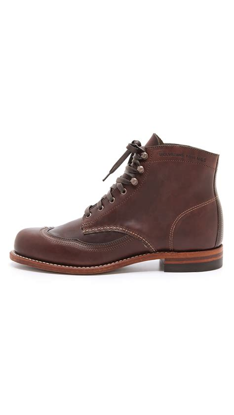 wolverine 1000 mile wingtip boots in brown for