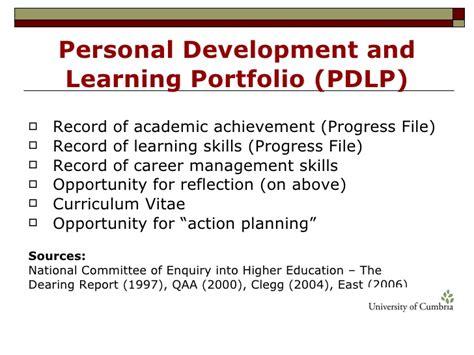 using pebblepad e portfolios to support pdp career