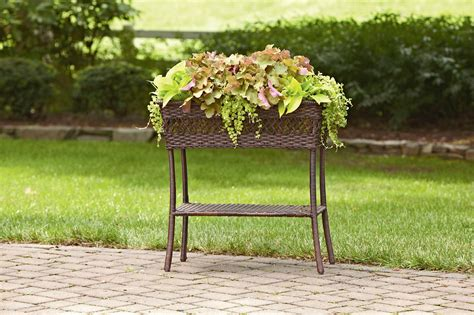 grand harbor wicker rectangle plant stand