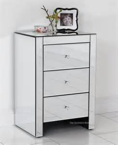 venetian mirrored glass 3 drawer bedside l table