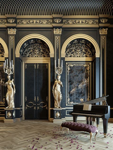 classic interior blackum mixing between gold black color in luxury