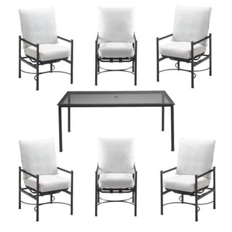7 Patio Dining Set Glass Top Barnsley 7 Glass Top Patio Dining Set With Bare Cushions