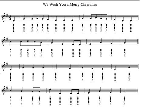 merry christmas tin whistle notes irish folk songs