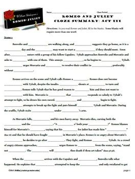 Romeo And Juliet Act 1 Worksheet by Romeo And Juliet Act Iii Cloze Summary By Mcmillan