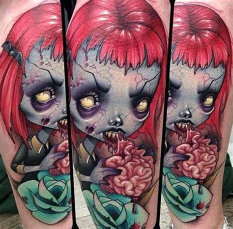 tattoo zombie new school new school style colored arm tattoo of zombie doll with