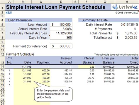 Free Simple Interest Loan Calculator For Mortgage And Amortization Simple Interest Loan Template