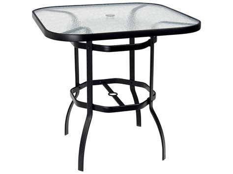 glass with umbrella woodard deluxe aluminum 42 square obscure glass top bar