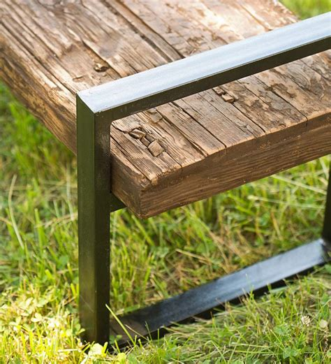 iron wood bench rustic wood and iron bench so that s cool