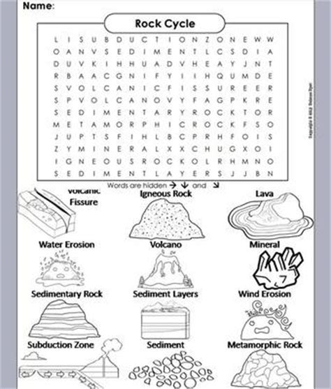 printable word search on rocks rock cycle word search