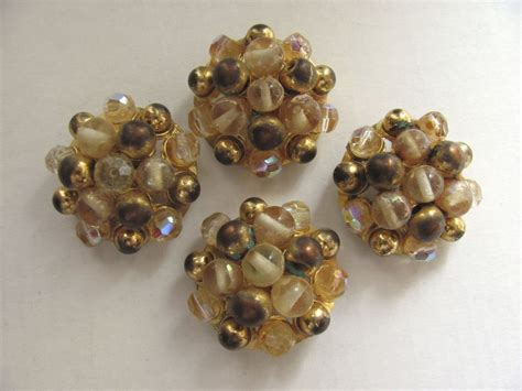 beading buttons set of 4 vintage large beaded buttons from blacktulip on
