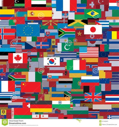 background made from world flags vector template stock