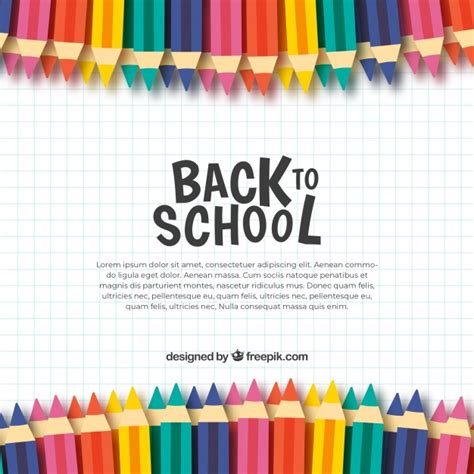 back to school background back to school background with colored pencils vector