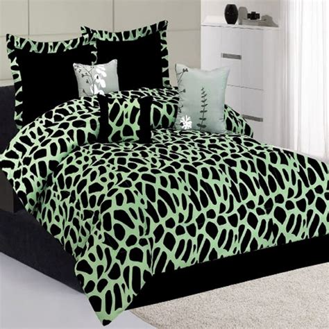 7pc kenya green giraffe animal print comforter bedding
