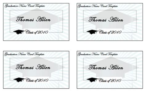 Birthday Card Template Word Templates Graduation Name Cards Template