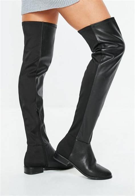 schwarze overknee stiefel aus kunstleder missguided