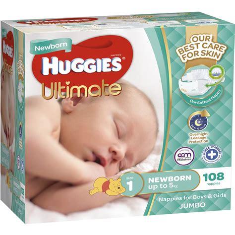 Kasur Box Baby Jumbo huggies ultra nappies newborn up to 5kg 108pk jumbo woolworths