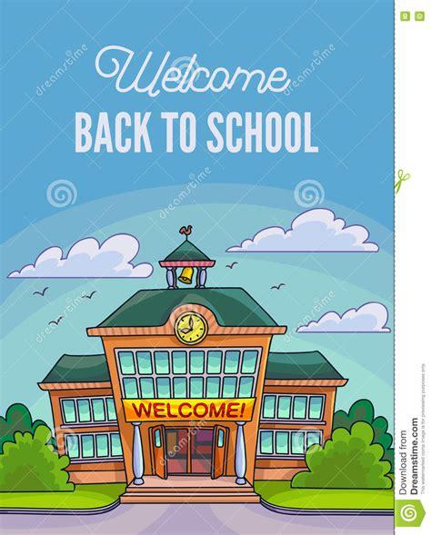 design poster cartoon school building illustration for banner or poster design