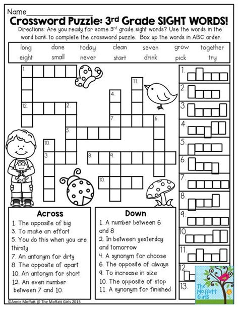 printable word games for grade 3 107 best crosswords for kids images on pinterest
