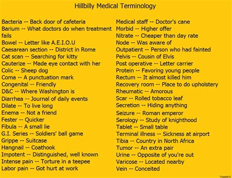medical terms hillbilly medical terms work pinterest medical and