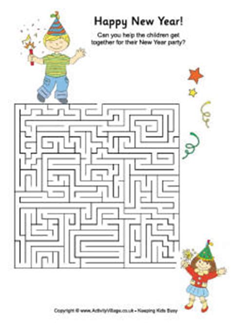 activity new year new year puzzles and mazes for